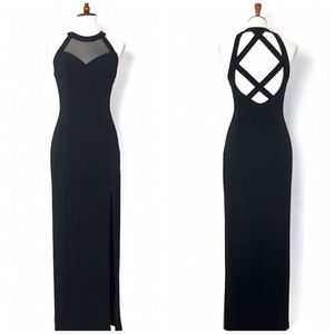 Faviana Black Mesh Cutout Side Slit Maxi Dress